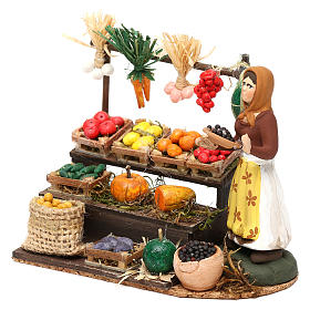 Woman with fruit and vegetable counter for Neapolitan Nativity scene 8 cm s2