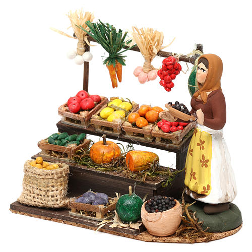 Woman with fruit and vegetable counter for Neapolitan Nativity scene 8 cm 2
