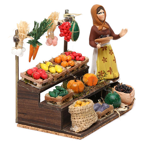 Woman with fruit and vegetable counter for Neapolitan Nativity scene 8 cm 3