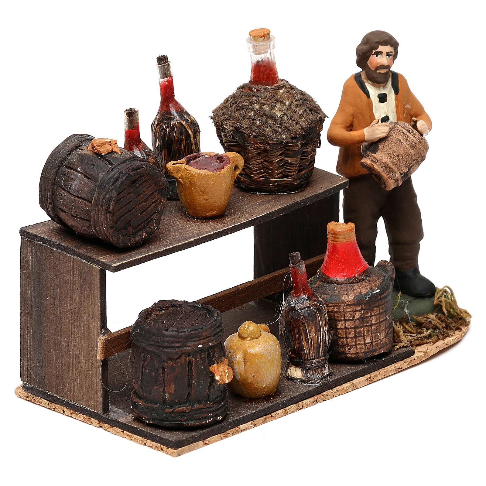 Wine seller with stall for Neapolitan Nativity scene 8 cm 4