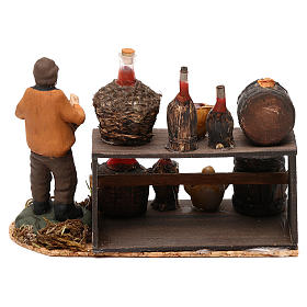 Wine seller with stall for Neapolitan Nativity scene 8 cm s4