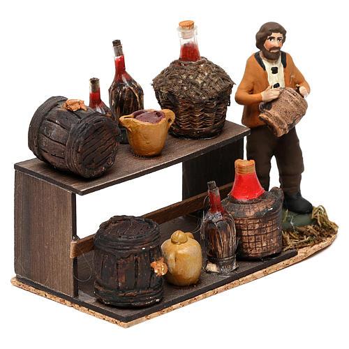 Wine seller with stall for Neapolitan Nativity scene 8 cm 3