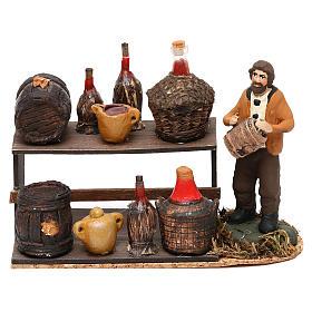 Scena venditore di vino con banchetto presepe napoletano 8 cm s1