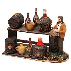 Scena venditore di vino con banchetto presepe napoletano 8 cm s2