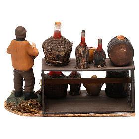Scena venditore di vino con banchetto presepe napoletano 8 cm s4