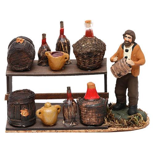 Scena venditore di vino con banchetto presepe napoletano 8 cm 1