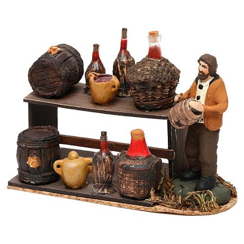 Scena venditore di vino con banchetto presepe napoletano 8 cm 2