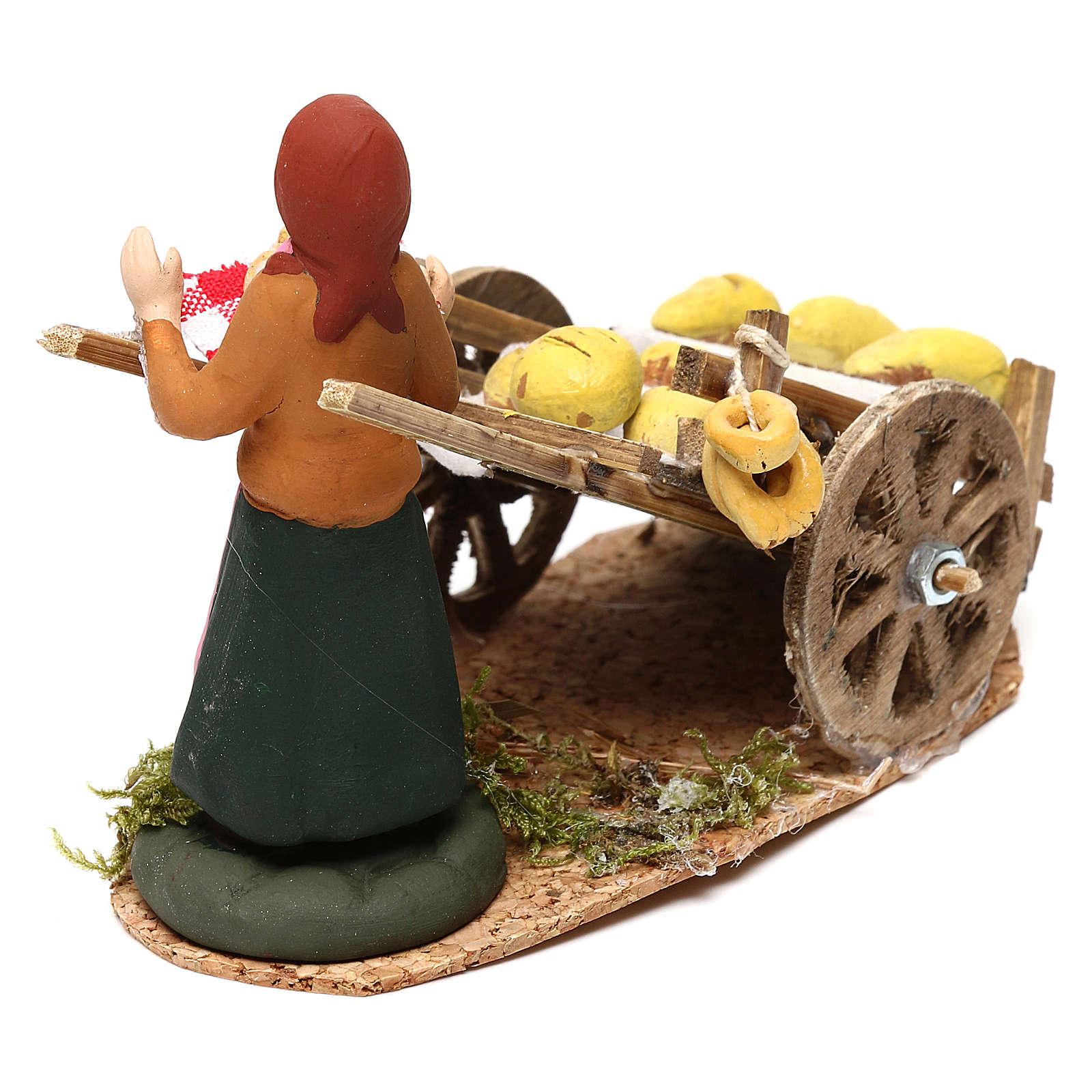 Scena donna con carretto pane presepe napoletano 8 cm 4