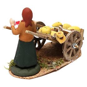 Scena donna con carretto pane presepe napoletano 8 cm s3