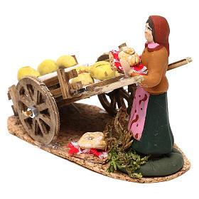 Scena donna con carretto pane presepe napoletano 8 cm s4
