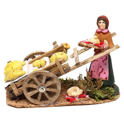 Scena donna con carretto pane presepe napoletano 8 cm 1