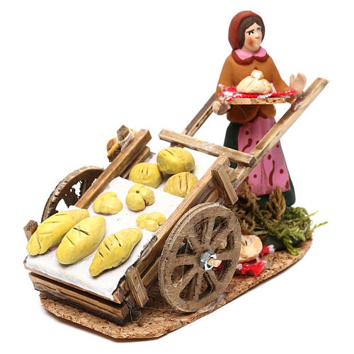 Scena donna con carretto pane presepe napoletano 8 cm 2