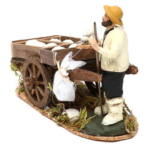 Man with a cart of raw bread, Neapolitan Nativity scene 8 cm 3