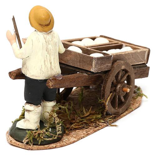 Man with a cart of raw bread, Neapolitan Nativity scene 8 cm 4
