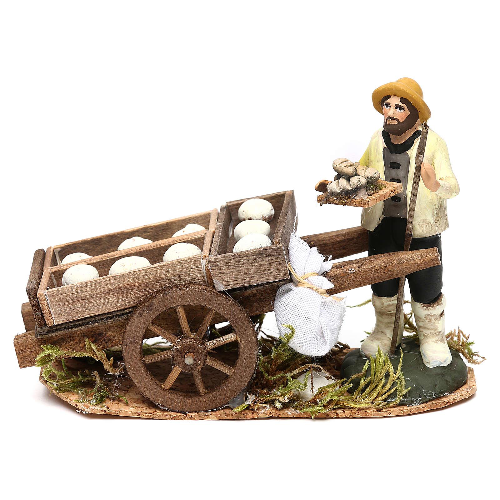 Scena uomo con carro pane crudo presepe napoletano 8 cm 4