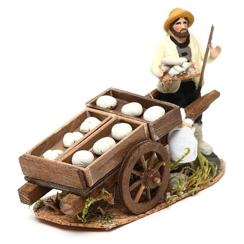 Scena uomo con carro pane crudo presepe napoletano 8 cm 2
