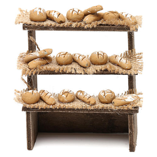 Bench on three levels with bread for Neapolitan Nativity Scene 10 cm 1
