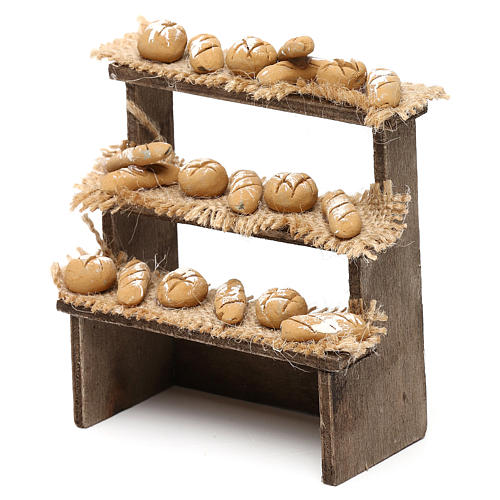 Bench on three levels with bread for Neapolitan Nativity Scene 10 cm 2