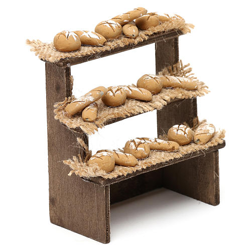 Bench on three levels with bread for Neapolitan Nativity Scene 10 cm 3