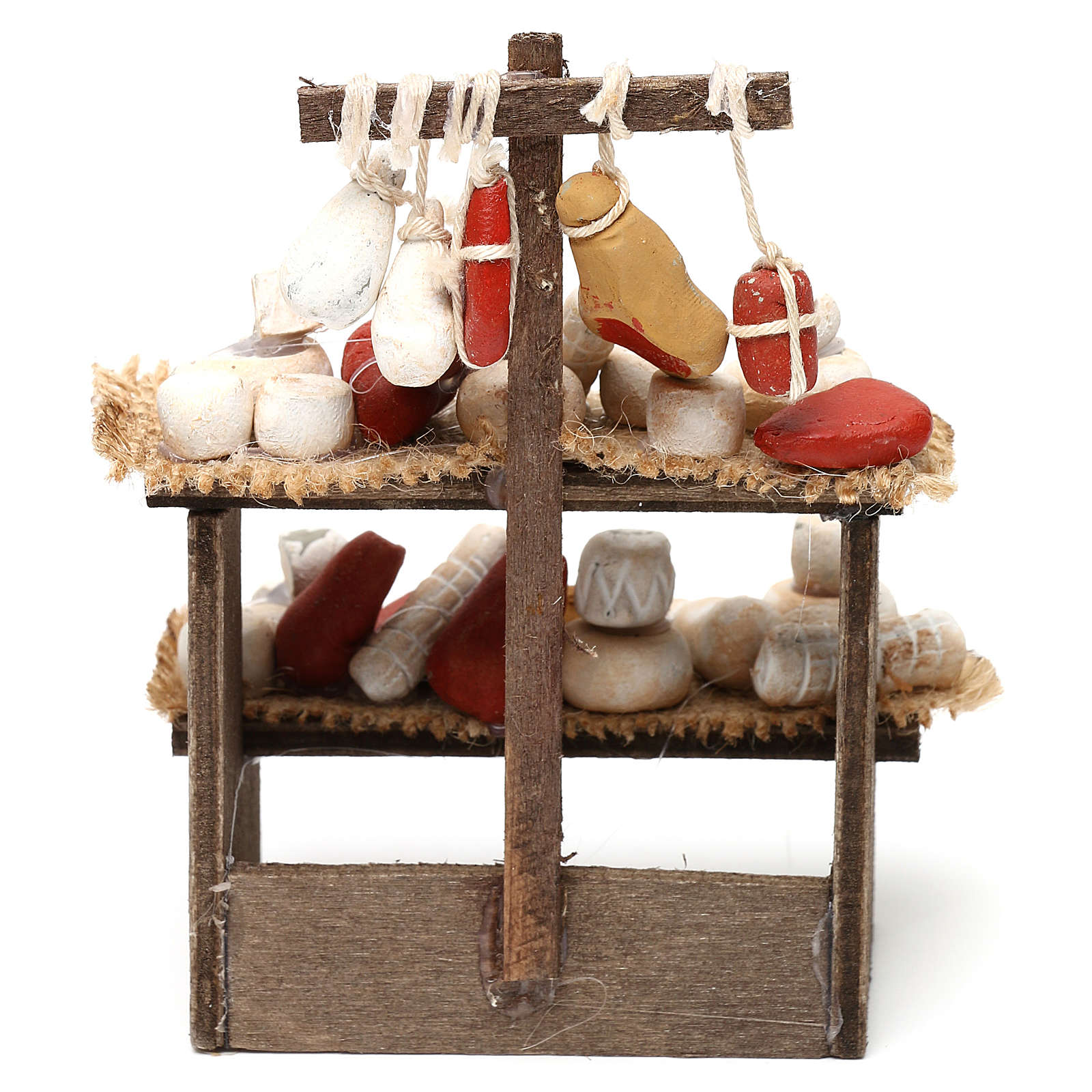 Wooden bench with cheeses and cold cuts in terracotta for Neapolitan Nativity Scene 10 cm 4