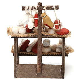 Wooden bench with cheeses and cold cuts in terracotta for Neapolitan Nativity Scene 10 cm s4