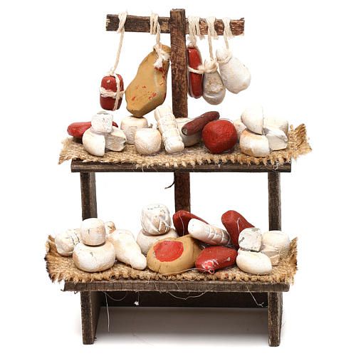 Wooden bench with cheeses and cold cuts in terracotta for Neapolitan Nativity Scene 10 cm 1