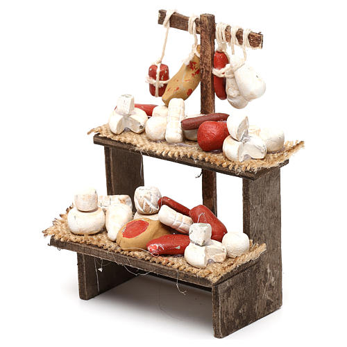 Wooden bench with cheeses and cold cuts in terracotta for Neapolitan Nativity Scene 10 cm 2