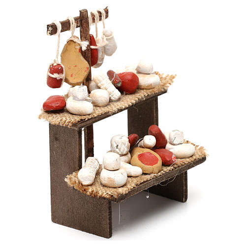 Wooden bench with cheeses and cold cuts in terracotta for Neapolitan Nativity Scene 10 cm 3