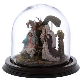 Natività con campana in vetro 8 cm presepe napoletano s3