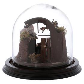 Natività con campana in vetro 8 cm presepe napoletano s5