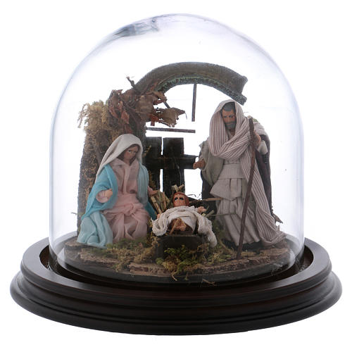 Natività con campana in vetro 8 cm presepe napoletano 1