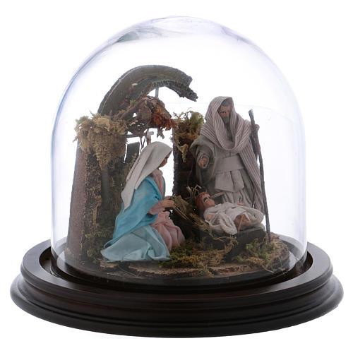 Natività con campana in vetro 8 cm presepe napoletano 4