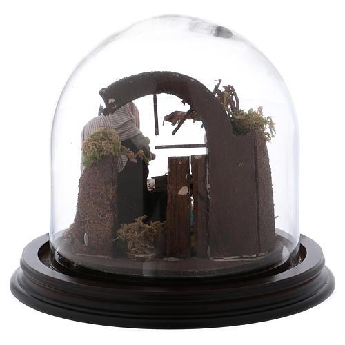 Natività con campana in vetro 8 cm presepe napoletano 5