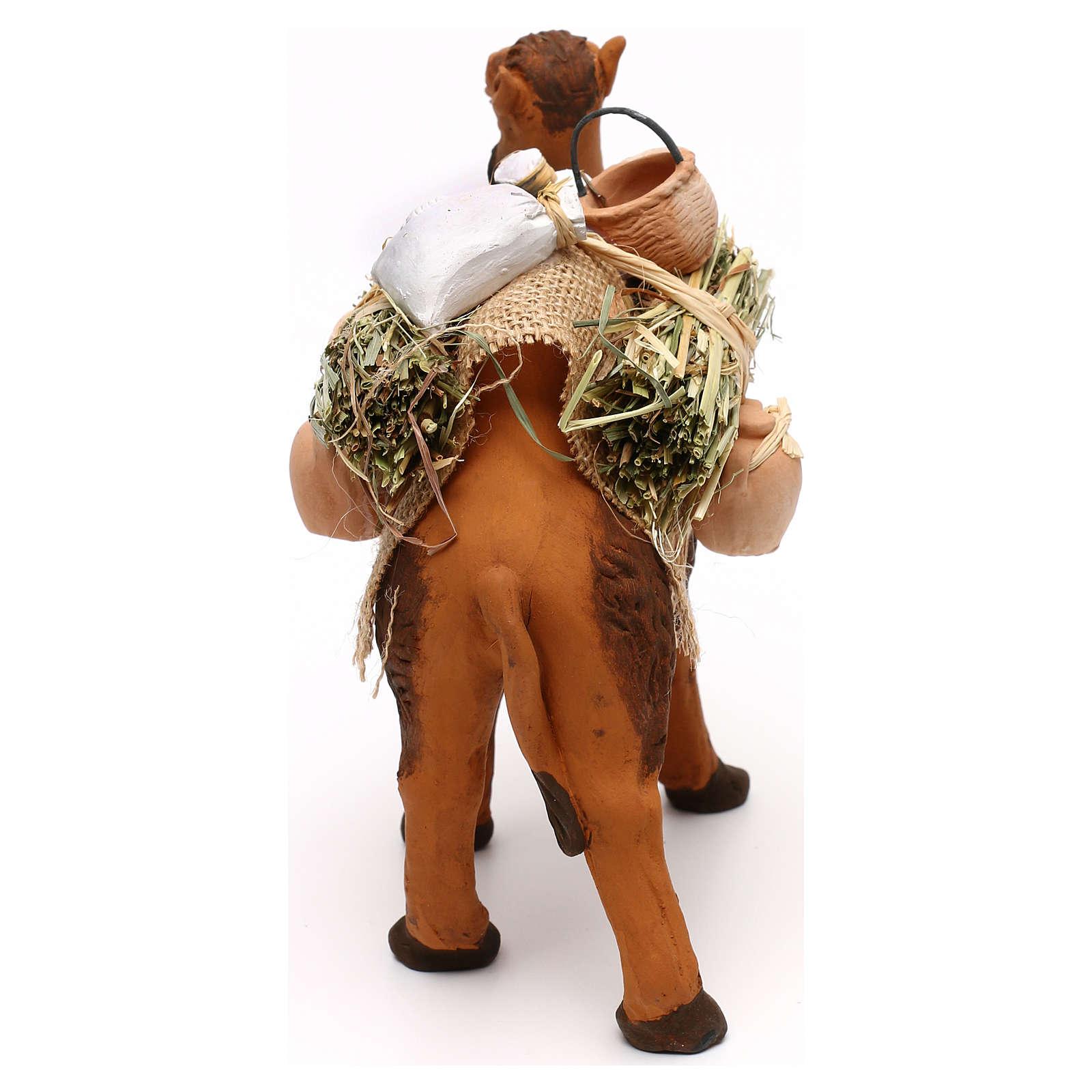 Cammello terracotta con sacchi e brocche presepe napoletano 12 cm 4