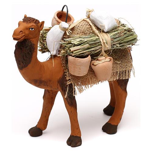 Cammello terracotta con sacchi e brocche presepe napoletano 12 cm 2
