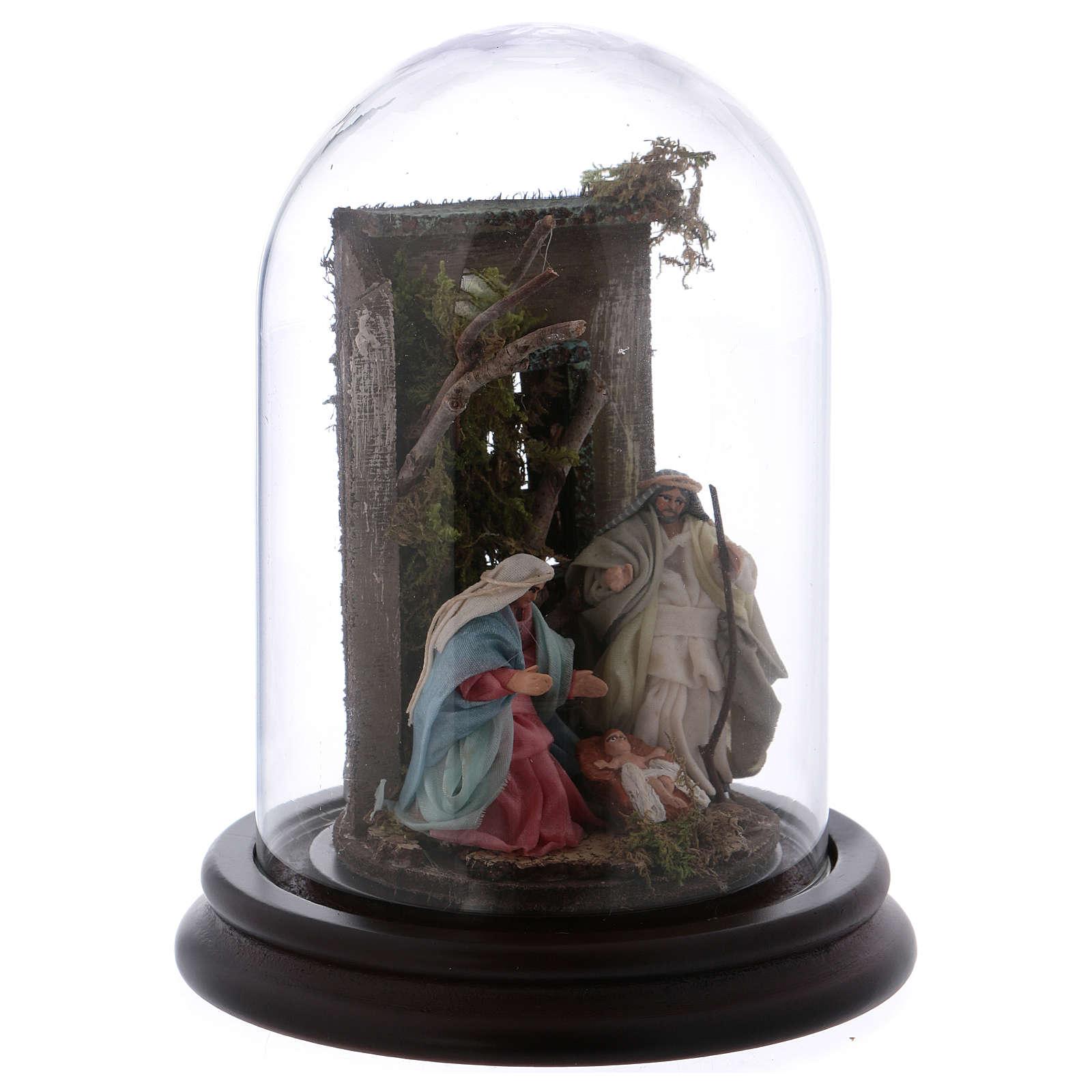 Scena natività campana di vetro presepe napoletano 6 cm 4