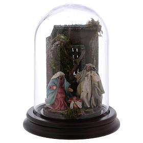 Scena natività campana di vetro presepe napoletano 6 cm s1