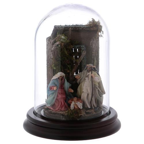 Scena natività campana di vetro presepe napoletano 6 cm 1