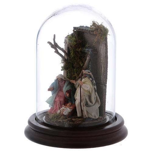 Scena natività campana di vetro presepe napoletano 6 cm 3