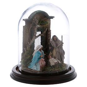 Natività scena in campana di vetro presepe napoletano 8 cm s4