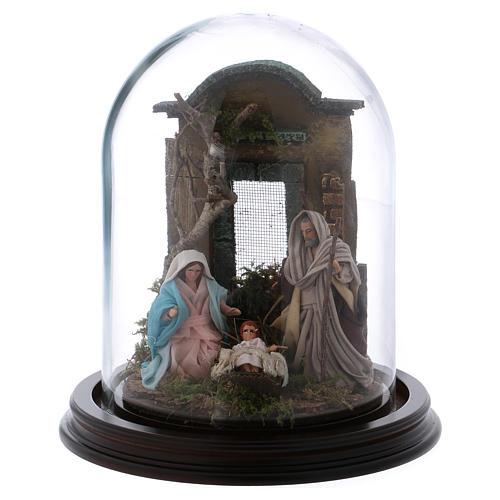 Natività scena in campana di vetro presepe napoletano 8 cm 1