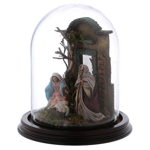 Natività scena in campana di vetro presepe napoletano 8 cm 3