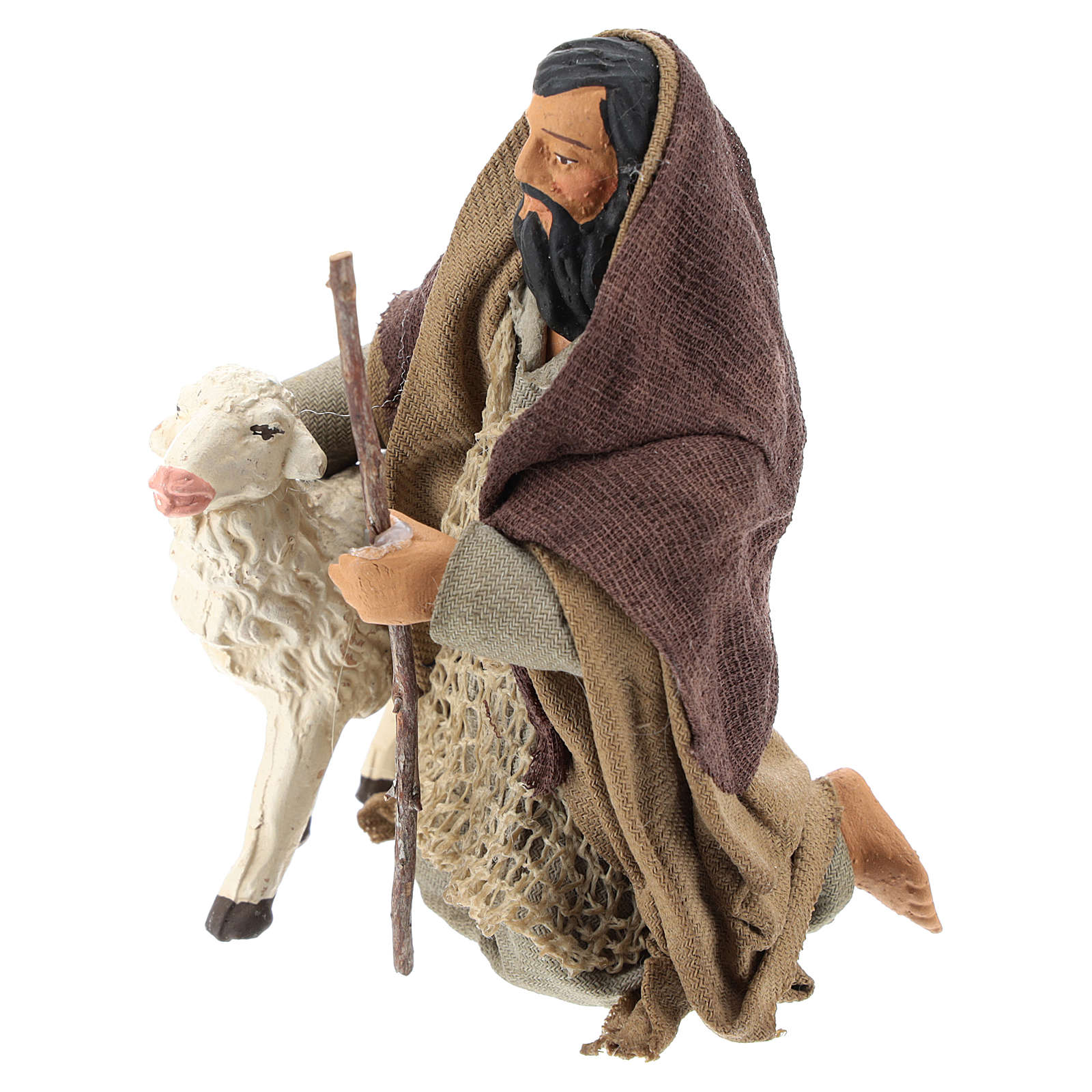 Arab shepherd on his knees with sheep 14 cm 4