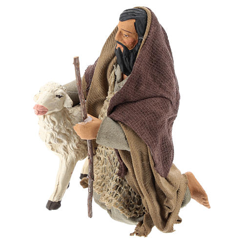 Arab shepherd on his knees with sheep 14 cm 3