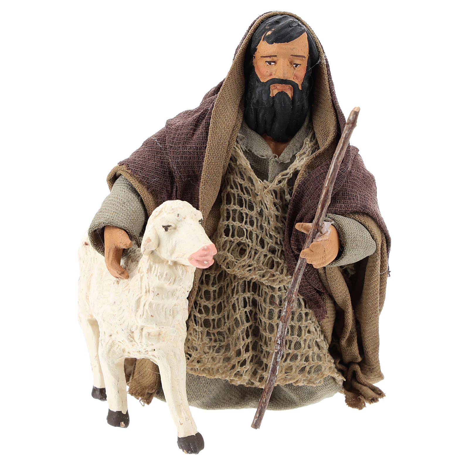 Pastor árabe de rodillas con ovejita 14 cm 4