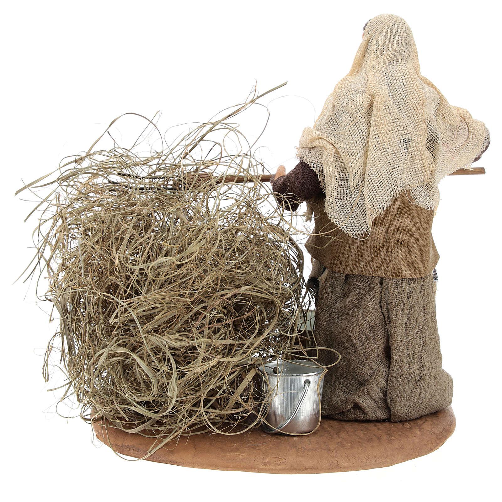 Santon paysanne avec paille 13 cm 4