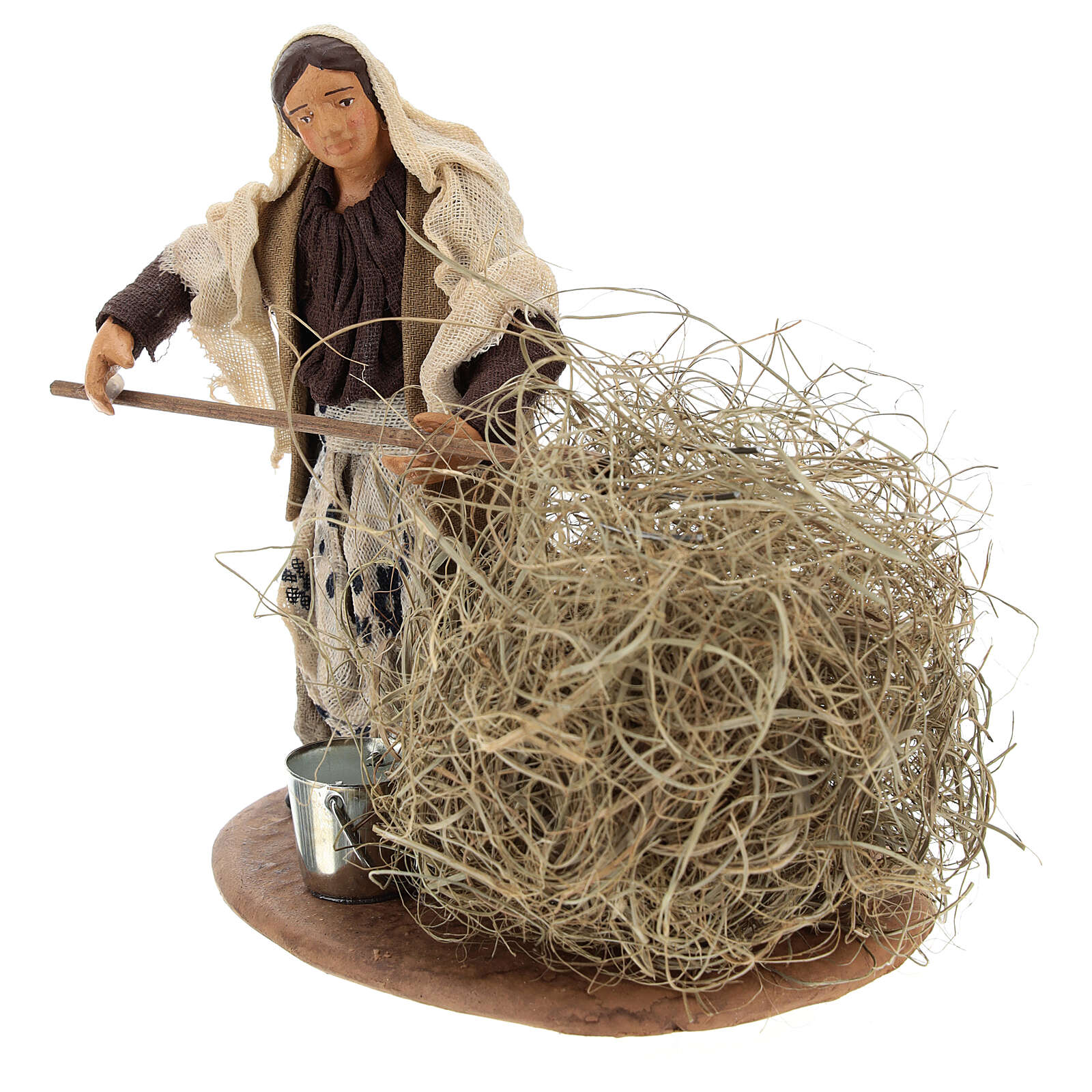 Miniature farmer woman with straw, 13 cm 4