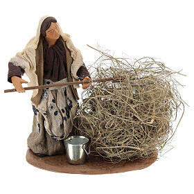 Miniature farmer woman with straw, 13 cm s1