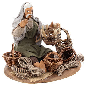 Seated basket repairer in resin Nativity scenes 14 cm s4