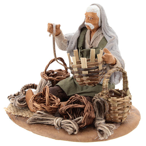Seated basket repairer in resin Nativity scenes 14 cm 3